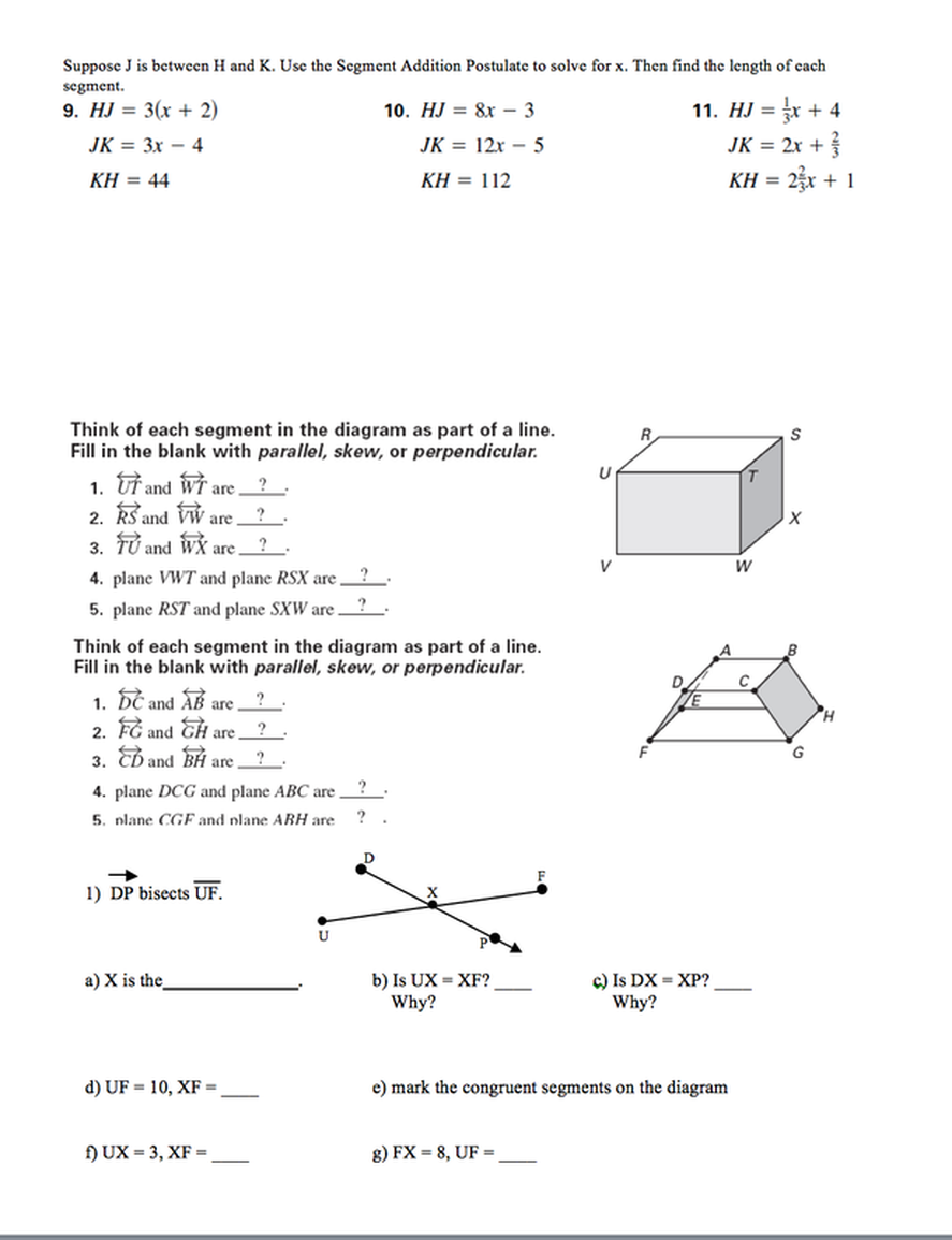 parallel, perpendicular and skew, Segment Addition Postulate ...